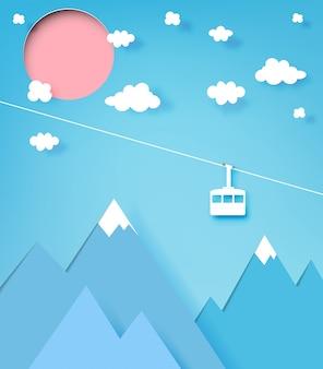 Drahtseilbahnpapier-kunstart mit schönem landschaftshintergrund