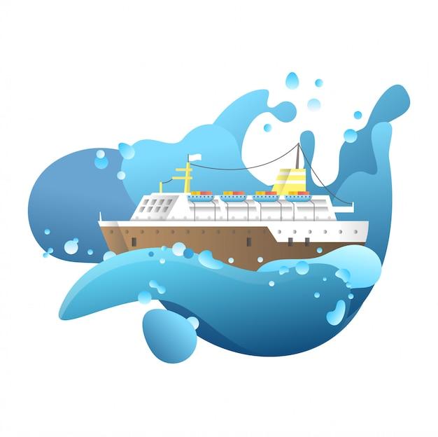 Dramatische schiffsillustration
