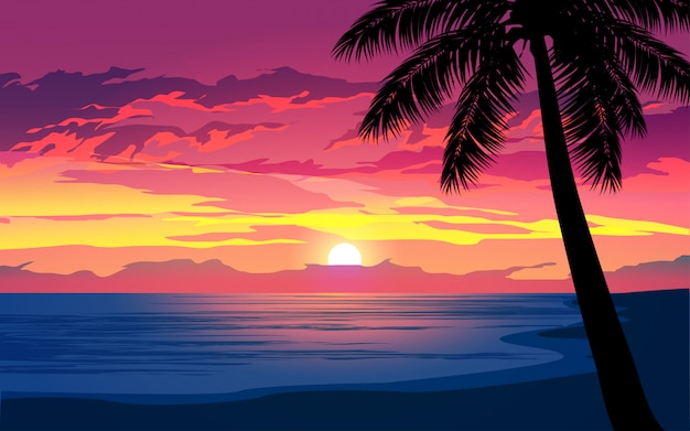 Dramatischer sonnenuntergang im tropischen strand