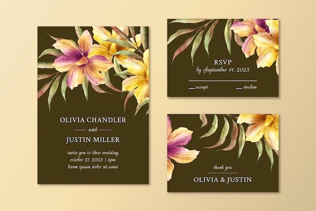 Dramatisches botanisches hochzeitsbriefpapier-set des aquarells