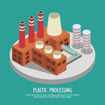 Drastische kunststoff-isometrie mit fabrikgebäude und wasserflaschen auf endlosband