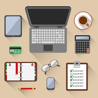 Draufsicht auf business-arbeitsplatz