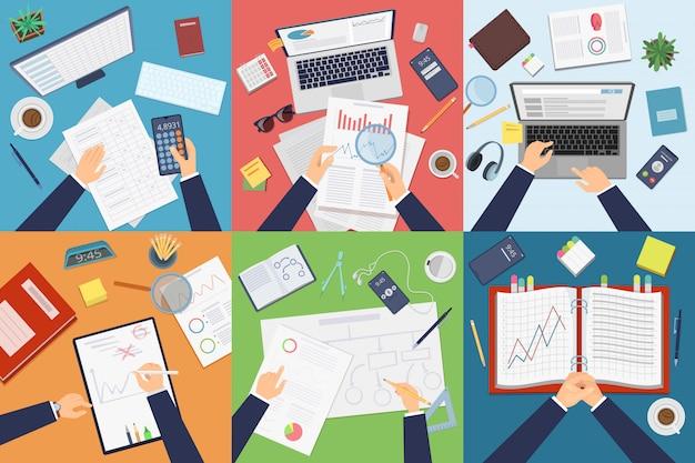 Draufsicht auf den arbeitsplatz. geschäftsmannprofi, der am tisch arbeitet und dokumente auf laptop-papierkrambildern analysiert