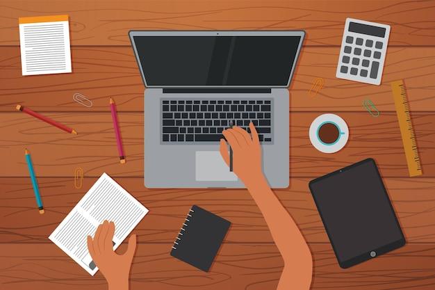 Draufsicht auf den kreativen arbeitsbereich