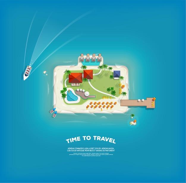 Draufsicht auf die insel in form eines koffers. zeit zu reisen und urlaub poster. urlaubsreise. reisen und tourismus.