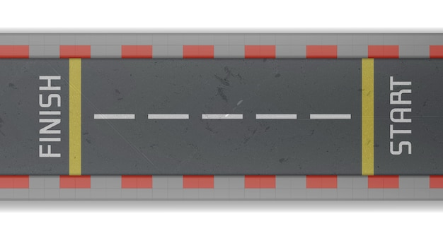 Draufsicht auf die rennstrecke mit start- und ziellinie. vector realistische illustration der leeren asphaltstraße für auto-rallye und geschwindigkeitsrennen
