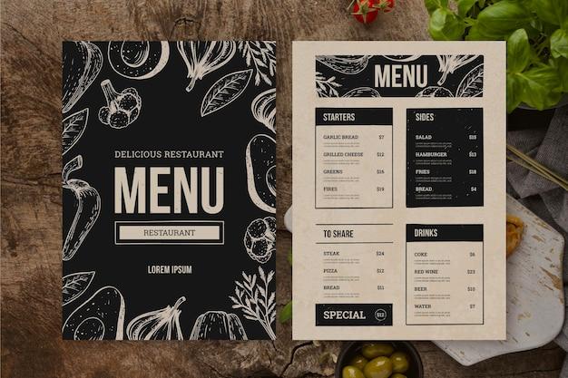 Draufsicht auf die speisekarte des restaurants