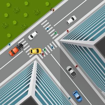 Draufsicht auf die stadtkreuzung