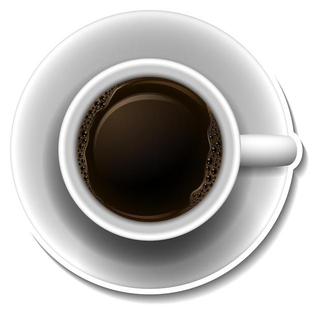 Draufsicht auf eine tasse heißen kaffee
