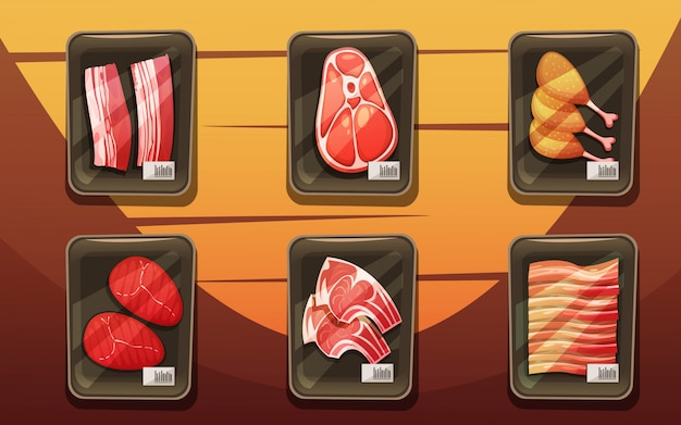 Draufsicht auf fleischzähler mit tabletts von hühnerbeinen