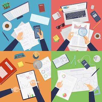 Draufsicht auf geschäftsarbeitsplatz. geschäftsmann, der analytische berichtsdokumente arbeitet, die berechnungen schreiben, die zeichnung professionell bei der arbeit schreiben