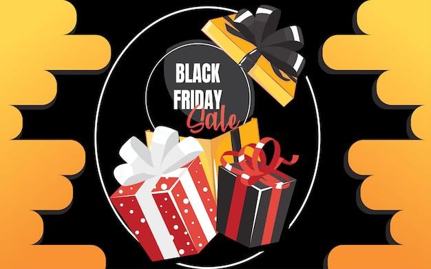 Draufsicht auf geschenkbox und bogen mit schöner kulisse. schwarzer freitag verkaufsbanner. vektor-illustration