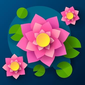 Draufsicht auf lotus im dunklen hintergrund im cartoon-stil. cartoon-vektor-illustration. abstraktes muster. dekoratives element. gestaltungselement.