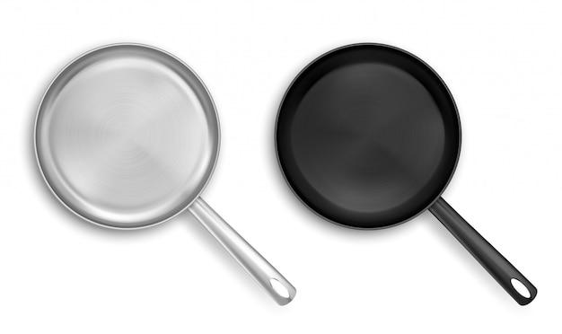 Draufsicht auf metall und schwarze antihaft-bratpfannen