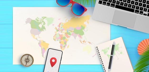 Draufsicht auf reise- und tourismuskonzeptschablone, bereit für sommer