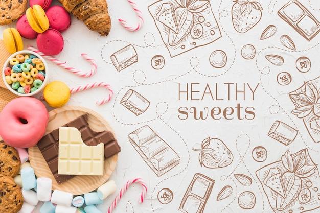 Draufsicht auswahl an süßigkeiten und gebäck