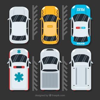 Draufsicht autokollektion mit krankenwagen und polizei