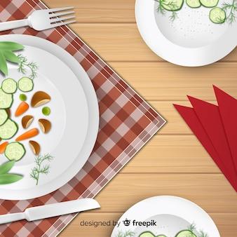 Draufsicht der eleganten restauranttabelle mit realistischem design