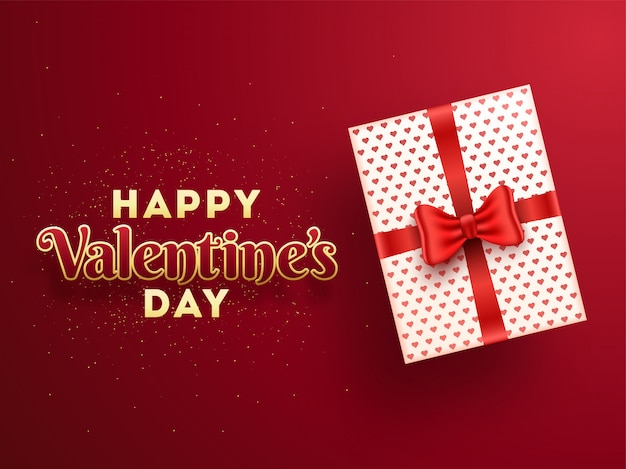 Draufsicht der geschenkbox mit stilvoller beschriftung des glücklichen valentinsgrußes