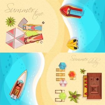 Draufsicht der horizontalen fahnen des strandurlaubs einschließlich küste, meer, boote, bar, sonnenanbeter auf liegestühlen lokalisierte vektorillustration