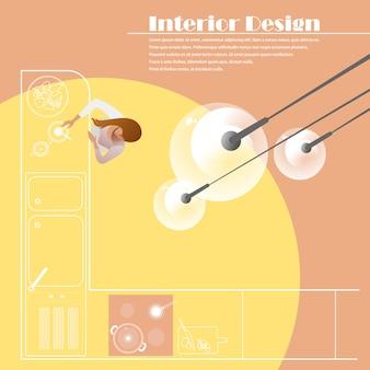Draufsicht der innenarchitektur der küche. vektormodell für eine layout-zielseite
