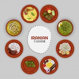 Draufsicht der iranischen kücheansammlung.