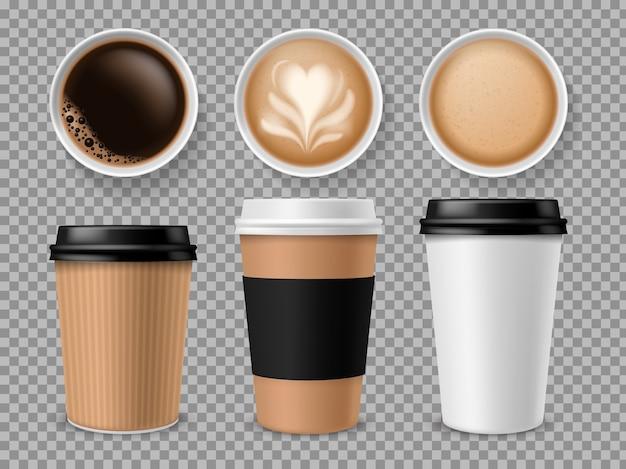 Draufsicht der kaffeetasse.