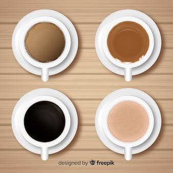 Draufsicht der kaffeetassesammlung mit realistischem design