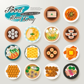 Draufsicht der köstlichen hong kong-gerichtesammlung im flachen stil