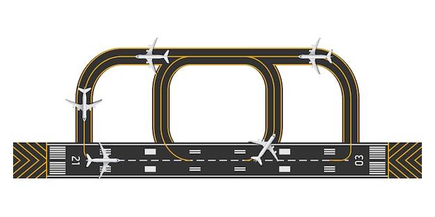 Draufsicht der landebahn des flughafens mit flugzeug