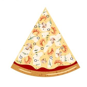 Draufsicht der meeresfrüchtescheibe pizza mit verschiedenen bestandteilen