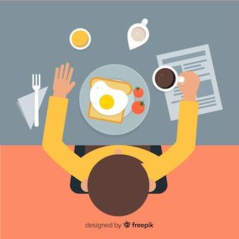 Draufsicht der modernen restauranttabelle mit flachem design