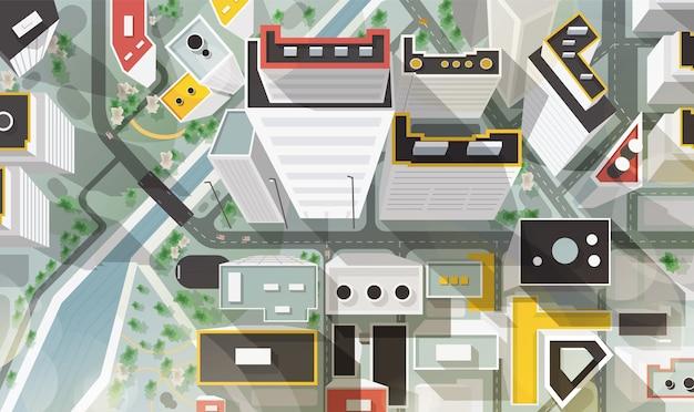 Draufsicht der stadt mit gebäuden der modernen architektur, wolkenkratzern, straßen, fluss und brücke