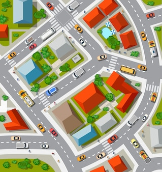 Draufsicht der städtischen kreuzung mit autos und häusern