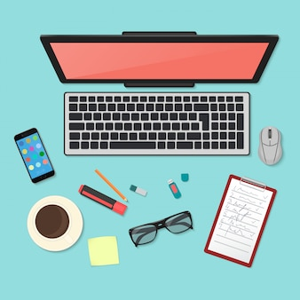Draufsicht der technologie-arbeitsplatzorganisation
