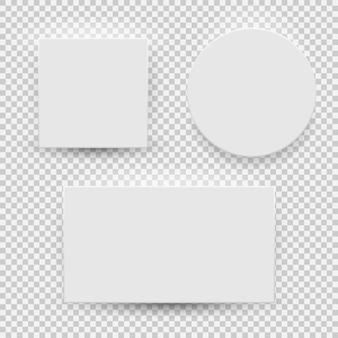 Draufsicht der weißen leeren modellschablone mit dem schatten lokalisiert auf transparentem hintergrund. vektor-illustration eps10
