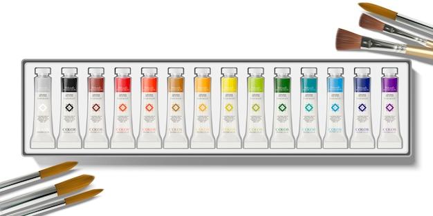 Draufsicht des aquarellfarbensatzes