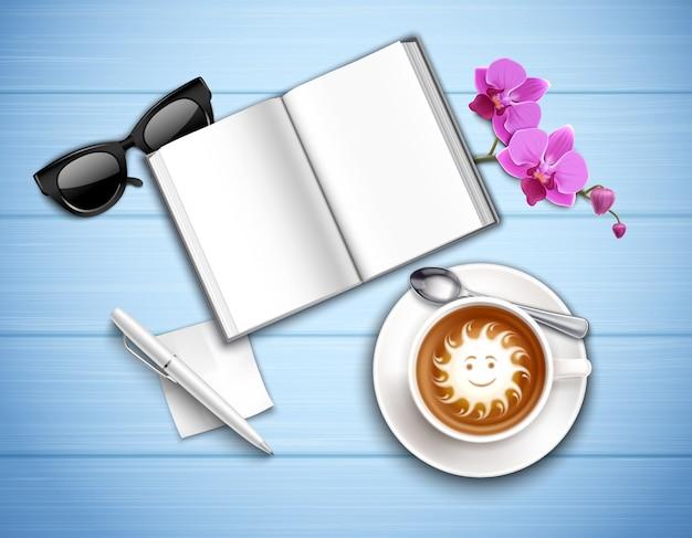 Draufsicht des arbeitsplatzes mit cappuccinosonnenbrillen und -orchidee auf strukturierter blauer realistischer illustration