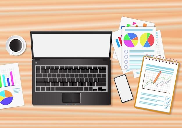 Draufsicht des arbeitsplatzes mit laptop und dokumenten auf holztisch. illustration.