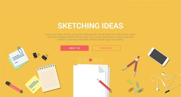 Draufsicht des arbeitsplatzes mit notizbuch sketchbook beweglichem smartphonebriefpapier-vektorillustration kreative idee, die flaches design des prozesses skizziert