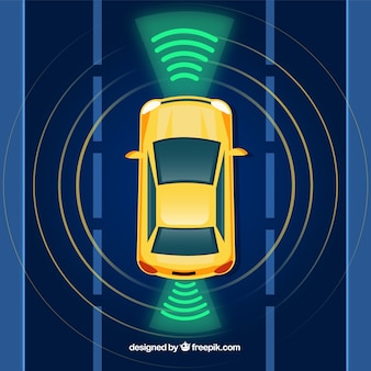 Draufsicht des autonomen autos mit flachem design