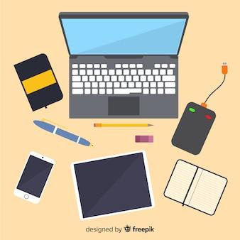 Draufsicht des berufsschreibtisches mit flachem design