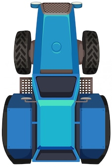 Draufsicht des blauen traktors