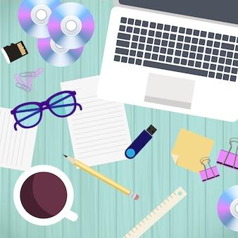 Draufsicht des büroarbeitsplatzes und des zubehörs auf hölzerner tabelle