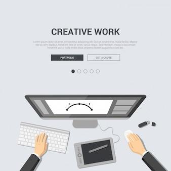 Draufsicht des designerarbeitsplatzes mit farbentablettenkünstler-grafikeditorschnittstelle auf flachem design der kreativen arbeit der monitorillustration