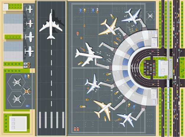 Draufsicht des flughafens mit dem flugzeug, dem terminalgebäude und der start- und landebahn