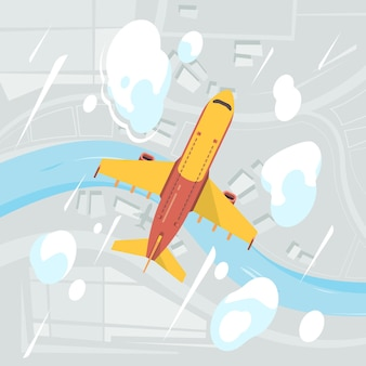 Draufsicht des flugzeughimmels. fliegende transportjet zivilflugzeug wolken wolken hintergrund. illustration flugzeugreise, flugzeugflug