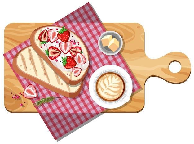Draufsicht des frühstückssatzes auf einem schneidebrett isoliert