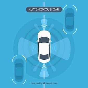 Draufsicht des futuristischen autonomen autos mit flachem design