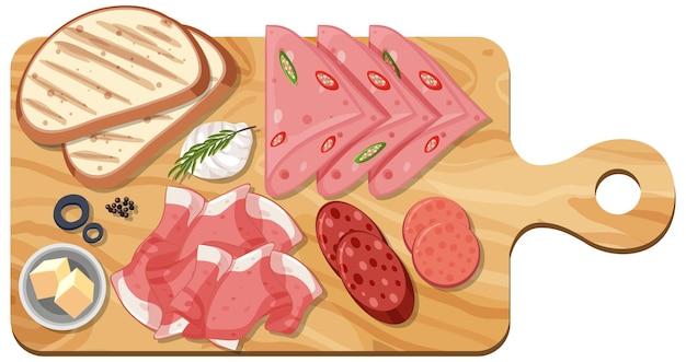 Draufsicht des geschnittenen fleisches, das auf ein schneidebrett gesetzt wird